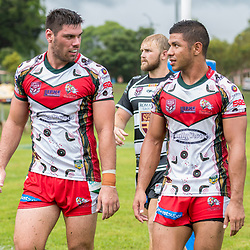 BRISBANE, AUSTRALIA - MARCH 19: Wynnum Manly and Tweed Heads Seagulls players in action during the Round 3 QRL Intrust Super Cup match between Wynnum Manly and Tweed Heads Seagulls at Ron Stark Oval on March 18, 2017 in Brisbane, Australia. (Photo by Patrick Kearney/Wynnum Manly Seagulls)