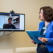 Dr. Bota takes a telemedicine call with a patient at UCI Medical Cancer Center: June 3, 2020 in Irvine, California.  ©2020 Michael Der