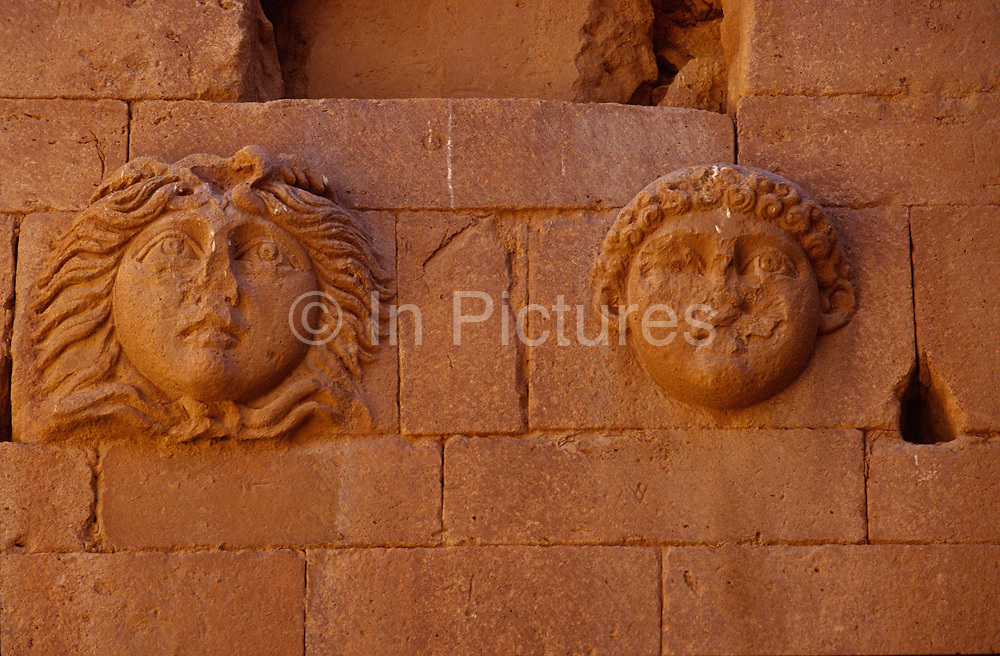 Reliefs on the wall of a building in Hatra, Iraq<br /> Hatra is today known as al-Hadr and is an ancient ruined city in the al-Jazira region of Iraq. It is a World Heritage site and  was founded as an Assyrian city by the Seleucid Empire some time in the 3rd century BCE. A religious and trading centre of the Parthian empire, it flourished during the 1st and 2nd centuries BCE. Hatra is the best preserved and most informative example of a Parthian city