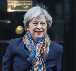 LOCATION, DATE. XXXX. Downing Street, London, January 24th 2017. British Prime Minister Theresa May leaves 10 Downing Street for the House of Commons following the Supreme Court's decision that Article 50 can only be triggered through an act of Parliament.