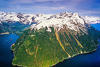 Aerial view, Prince William Sound, near Valdez, Alaska USA