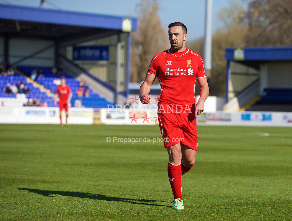 CHESTER, WALES - Tuesday, April 7, 2015: Liverpool's Jose Enrique in action against Fulham during the Under 21 FA Premier League match at Deva Stadium. (Pic by David Rawcliffe/Propaganda)