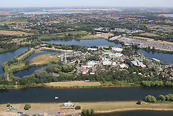 Image ©Licensed to i-Images Picture Agency. Aerial views. United Kingdom.<br /> Thorpe Park amusement park. Picture by i-Images
