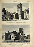 North West view of St. Martin's or Carfax Church, and St. Giles Oxford is the county town and only city of Oxfordshire, England. Copperplate engraving From the Encyclopaedia Londinensis or, Universal dictionary of arts, sciences, and literature; Volume XVIII;  Edited by Wilkes, John. Published in London in 1821