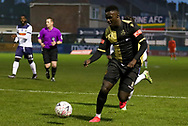 Marine forward Mo Touray (10) runs forward with the ball during the The FA Cup match between Marine and Havant & Waterlooville FC at Marine Travel Arena, Great Crosby, United Kingdom on 29 November 2020.