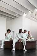 LaNell Grant, Tobe's producer, Tobe Nwigwe, his daughter Ivory, his daughter Sage and his wife Fat Nwigwe pose for a portrait at the Menil Collection Sunday August 9, 2020 in Houston, TX.