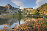 Heather Meadows in autumn. Table Mountain is in the distance. Heather Meadows Recreation Area, North Cascades Washington