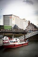 the Ellmill or Aurora mill at the harbor in the district Deutz, swing bridge, fire-fighting boats, Cologne, Germany.<br /> <br /> die Ellmuehle oder Aurora Muehle im Deutzer Hafen, Drehbruecke, Feuerloeschboote, Koeln, Deutschland.
