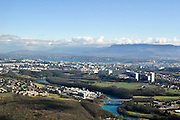 Aerial view of Geneva Switzerland as seen from west to east