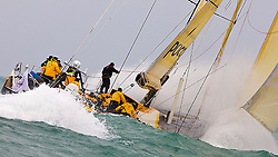 08_033101 © Sander van der Borch.Alicante, 11 October 2008. Start of the Volvo Ocean Race.  Team Russia rounded the bottom mark in 8th  position, reaching of in heavy weather.