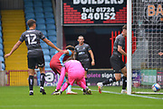 Jai Rowe (25) of Scunthorpe United misses a chance to score during the Pre-Season Friendly match between Scunthorpe United and Doncaster Rovers at Glanford Park, Scunthorpe, England on 15 August 2020.
