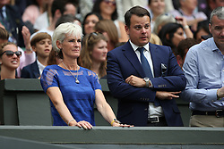 © London News Pictures. Judy Murray watches her son Andrew Murray (GB) beat Vasek Pospisil (CAN) in centre court at the Wimbledon Tennis Championships today 08.07.2015. Photo credit: LNP