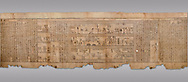 """Ancient Egyptian Book of the Dead papyrus - Spell 105 for gratifying the deceased with Ka, Iufankh's Book of the Dead, Ptolemaic period (332-30BC).Turin Egyptian Museum. Grey Background<br /> <br /> The spell is """" Hail to thee, my spirit, my lifetime. Behold I am come unto thee risen, powerful, posessed of a soul, mighty.<br /> <br /> You who weighs in the balance. may truth rise to the nose of Ra, on that day of judgement, ley not my head be taken away from me.""""<br /> <br /> The translation of  Iuefankh's Book of the Dead papyrus by Richard Lepsius marked a truning point in the studies of ancient Egyptian funereal studies. .<br /> <br /> If you prefer to buy from our ALAMY PHOTO LIBRARY  Collection visit : https://www.alamy.com/portfolio/paul-williams-funkystock/ancient-egyptian-art-artefacts.html  . Type -   Turin   - into the LOWER SEARCH WITHIN GALLERY box. Refine search by adding background colour, subject etc<br /> <br /> Visit our ANCIENT WORLD PHOTO COLLECTIONS for more photos to download or buy as wall art prints https://funkystock.photoshelter.com/gallery-collection/Ancient-World-Art-Antiquities-Historic-Sites-Pictures-Images-of/C00006u26yqSkDOM"""