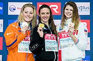 HOSSZU Katinka HUN Gold Medal<br /> TOUSSAINT Kira NED Silver Medal<br /> KAMENEVA Mariia RUS Bronze Medal<br /> WOMEN - 100 M BACKSTROKE - FINAL<br /> Copenhagen 14-12-2017 Royal Arena <br /> LEN European Short Course Swimming <br /> Championships - Campionati Europei nuoto vasca corta<br /> Foto © Giorgio Scala / Deepbluemedia
