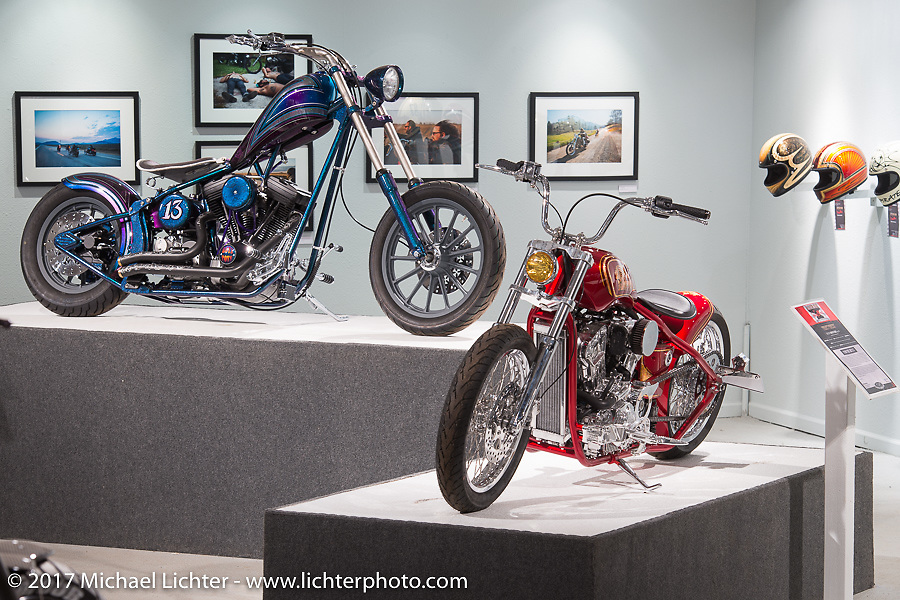 Nikki Martin's 1999 Harley-Davidson Evo Chopper and Karlee Cobb's Indian Scout rigid custom in the Old Iron - Young Blood exhibition in the Motorcycles as Art gallery at the Buffalo Chip during the annual Sturgis Black Hills Motorcycle Rally. Sturgis, SD, USA. Wednesday August 9, 2017. Photography ©2017 Michael Lichter.