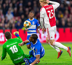 13-03-2019 NED: Ajax - PEC Zwolle, Amsterdam<br /> Ajax has booked an oppressive victory over PEC Zwolle without entertaining the public 2-1 / Mickey van der Hart #16 of PEC Zwolle, Kingsley Ehizibue #20 of PEC Zwolle, Kasper Dolberg #25 of Ajax