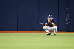 May 11, 2017 - St. Petersburg, FL, USA - Tampa Bay Rays center fielder Kevin Kiermaier (39) takes a moment in the outfield after his two-run error on a single by Kansas City Royals second baseman Whit Merrifield (15) in the eighth inning on Thursday, May 11, 2017 at Tropicana Field in St. Petersburg, Fla. The Kansas City Royals beat the Tampa Bay Rays 6-0. (Credit Image: © Will Vragovic/TNS via ZUMA Wire)