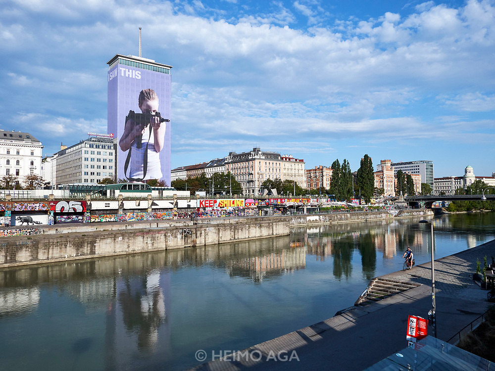House Art, Austria. Ringturm, Vienna. 'I saw this' by Gottfried Helnwein (2018) takes aim at the city.