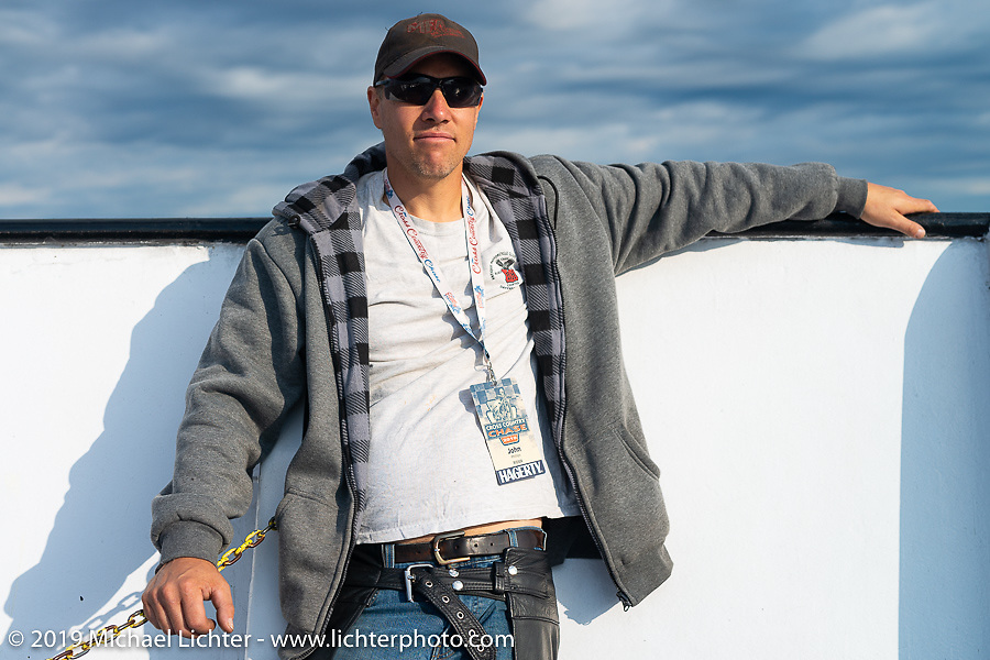 Canadian John Phillips on the SS Badger Lake Michigan ferry crossing during the Cross Country Chase motorcycle endurance run from Sault Sainte Marie, MI to Key West, FL (for vintage bikes from 1930-1948). Stage 2 from Ludington, MI to Milwaukee, WI, USA. Saturday, September 7, 2019. Photography ©2019 Michael Lichter.