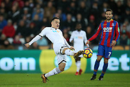 Roque Mesa of Swansea city in action. Premier league match, Swansea city v Crystal Palace at the Liberty Stadium in Swansea, South Wales on Saturday 23rd December 2017.<br /> pic by  Andrew Orchard, Andrew Orchard sports photography.