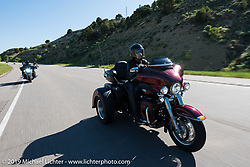 Marlene Martin of Jasper, GA on her 2017 Tri Glide riding from Steamboat Springs to Doc Holliday's Harley-Davidson in Glenwood Springs during the Rocky Mountain Regional HOG Rally, Colorado, USA. Thursday June 8, 2017. Photography ©2017 Michael Lichter.