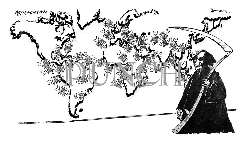 """(The Grim Reaper stands in front of a map of the world with arrows pointing to areas with high death tolls with little notes saying """"You are here"""")"""