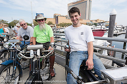Jeff Tiernan (L), Vern Acres and Tanner Whitton with all of the 4-Cylinder Henderson's on the boardwalk before the start of the Motorcycle Cannonball Race of the Century Run. Atlantic City, NJ, USA. September 9, 2016. Photography ©2016 Michael Lichter.
