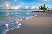 Grace Bay beach with surf, turquoise water, clouds and a lone tree in the distance, Turks & Caicos