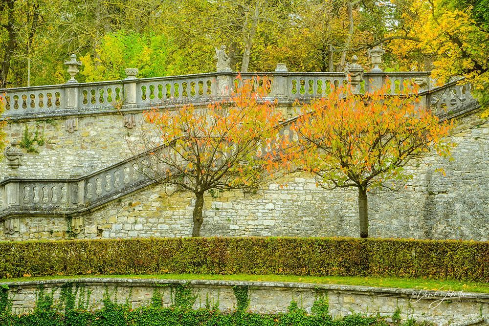 Court gardens. Hofgarten. Garden of the bishops's palace (Residenz Würzburg), Wurzburg, Bavaria, Germany
