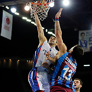 Anadolu Efes's Dogus Balbay (L) during their Turkish Basketball League Play Off Semi Final round 2 match Anadolu Efes between Trabzonspor at Abdi Ipekci Arena in Istanbul Turkey on Friday 31 May 2015. Photo by Aykut AKICI/TURKPIX