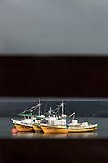Fishing boats in harbor, Chiloe Island, Chile