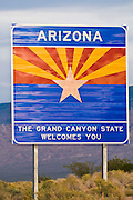 Arizona state line highway welcome sign, Arizona