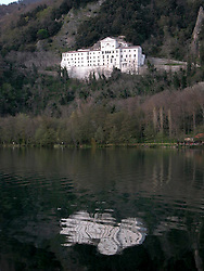 """Monticchio Laghi, Basilicata, Italy - The """"small lake"""" with abbey of Saint Michael. The lakes (small and big) are of volcanic origin."""