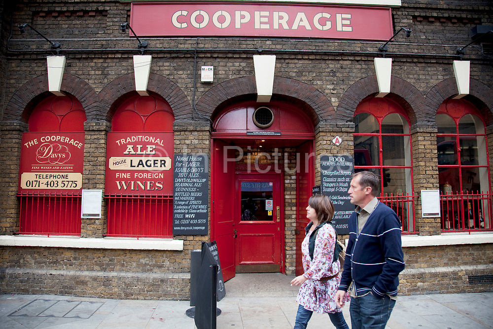 The Cooperage wine bar and ale house on Tooley Street, London Bridge. This Ale House stays true to its traditional heritage, as a place where barrels were made with sawdust on the floor, original Coopers tools on the walls, barrels to drink around. Real Ales include our famous Davy's Old Wallop, served in pewter tankards, and seasonal guest ales from Shepherd Neame - one of the most respected breweries in the country.