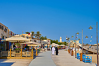 Al Wakrah ,Qatar -December 25 , 2019 :  new souk waterfront promenade  with his traditional houses build specially for the soccer world cup of 2022