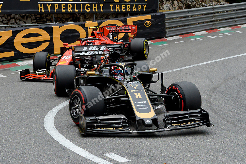 Romain Grosjean (Haas-Ferrari) leading Charles Leclerc (Ferrari) during the 2019 Monaco Grand Prix. Photo: Grand Prix Photo