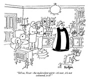 """""""Tell us, Vicar - the malevolent spirit - it's not...it's not coloured, is it?"""" (a priest exorcises a poltergeist in a couple's living room)"""