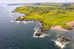 Aerial view from drone of Ailsa course at Trump Turnberry golf course in Ayrshire, Scotland, UK