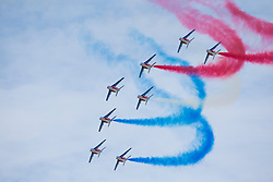 © Licensed to London News Pictures. 12/07/2014. RAF Fairford UK. The Patrouille de France Perform at the Royal International Air Tattoo at RAF Fairford. Photo Credit : Ian Schofield/LNP