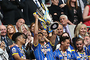David Fitzpatrick lifting the trophy after the Sky Bet League 2 play off final match between AFC Wimbledon and Plymouth Argyle at Wembley Stadium, London, England on 30 May 2016.