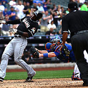 Adeiny Hechavarria, Miami Marlins, is tagged out at home plate by New York Mets catcher John Buck during the New York Mets V Miami Marlins, Major League Baseball game which went for 20 innings and lasted 6 hours and 25 minutes. The Marlins won the match 2-1. Citi Field, Queens, New York. 8th June 2013. Photo Tim Clayton