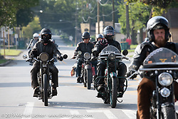 Todd Cameron and George Unruh ride side by side on the Motorcycle Cannonball coast to coast vintage run. Stage 6 (260 miles) from Bourbonnais, IL to Cedar Rapids, IA. Thursday September 13, 2018. Photography ©2018 Michael Lichter.
