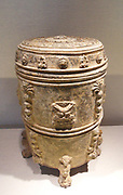 Chinese covered footed vessel . Six Dynasties, Northern Qi dynasty (550–77) Grey earthenware with applied-relief decoration under white slip