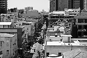 Tel Aviv, Israel cityscape in black and white