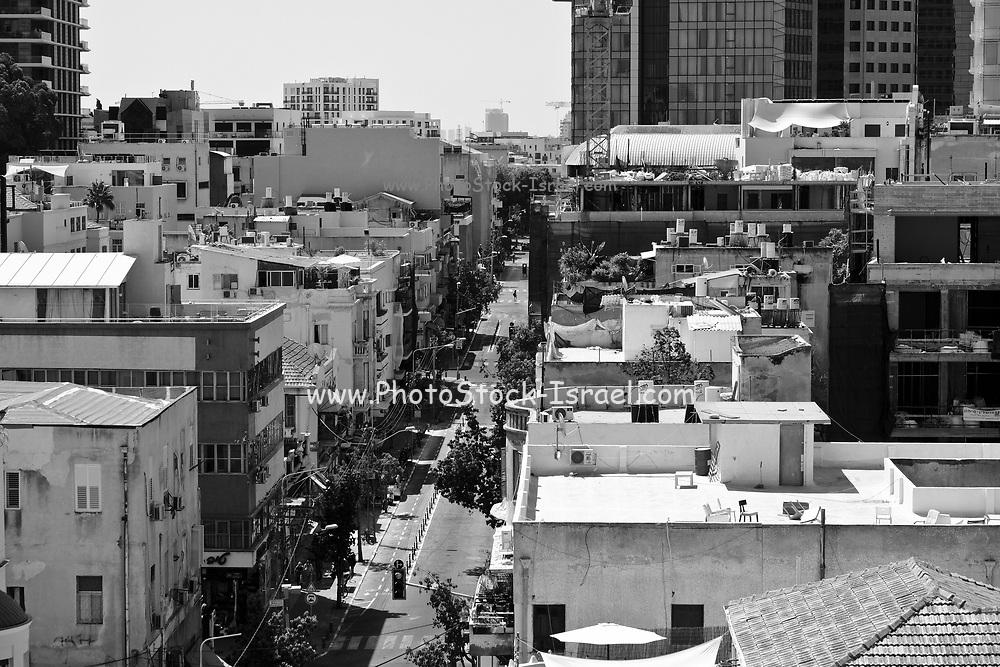 Tel Aviv, Israel cityscape in black and white
