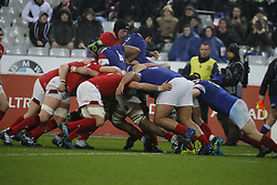 Furious maul during Rugby Guinness 6 Nations Tournament, France vs Wales At the Stade de France in Saint-Denis, France, on February 1, 2019. Wales won 24-19. Photo by Henri Szwarc/ABACAPRESS.COM