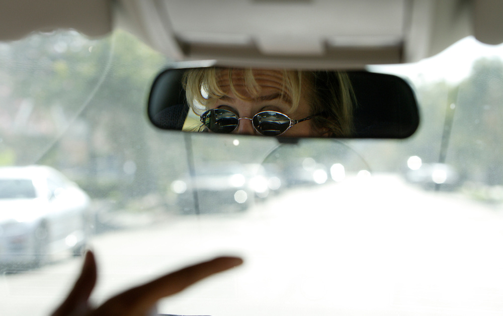 HIGHLAND PARK, CA, OCTOBER 20, 2006: Louisa Prudhomme, the mother of Anthony Prudhomme who was mudered in a hate crime by Latino gang members in Highland Park, CA, regularly surveils the neighborhood where the gangsters and her son lived in hopes of finding info about one of the alleged killers still on the loose.  (Photograph by Todd Bigelow/Aurora). ..