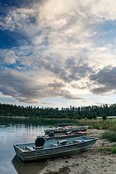 Fishing boats on Bartlett Lake, Vermejo Park Ranch, New Mexico, USA.