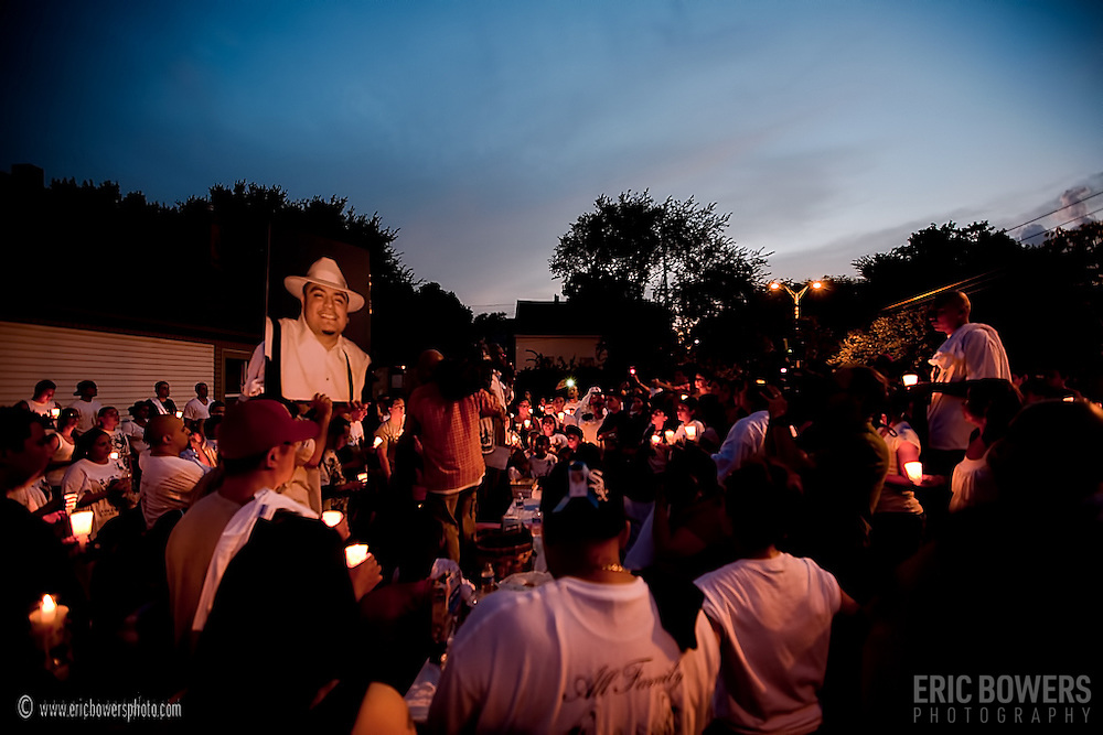 A gathering in the West Side following Kansas City resident John Paul Garcia's murder in the early morning of Sunday August 8, 2010.