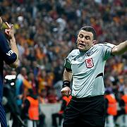 Referee's Ilker Meral (R) and IBBSpor's Can Arat (L) during their Turkish Super League soccer match Galatasaray between IBBSpor at the AliSamiyen Spor Kompleksi TT Arena at Seyrantepe in Istanbul Turkey on Saturday, 30 March 2013. Photo by Aykut AKICI/TURKPIX
